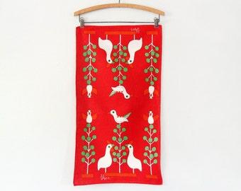 Vintage Vera Neumann Linen Towel - Red with Birds