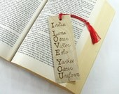 Wooden bookmark - I Love You - Hand Pyrography - Love Quote