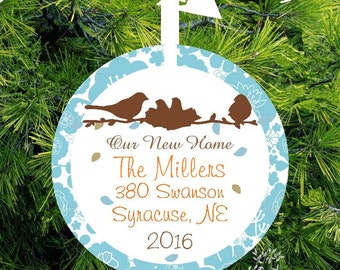 Our New Home Ornament, Personalized First Home Ornament, Lovebirds Family Housewarming Gift, Our New Home Address lovebirdslane