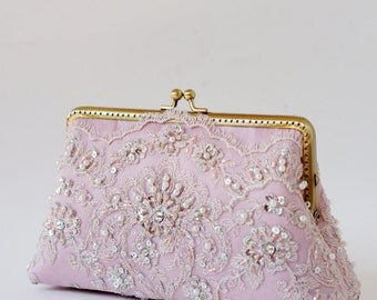 Rose Pink Lace Bridal Clutch, Silk Clutch, Silk Lining, Bridesmaid Gift, Wedding clutch / Last One / Ready To Ship