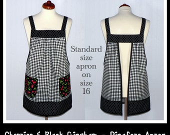 Cherries and Black Gingham Pinafore Apron, no tie apron, all day apron, made-to-order XS -Plus Size, loose fitting smock great for maternity