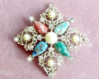Brooch Rhinestones Pearls Beads Sarah Coventry Vintage