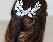 Wedding Headpiece, Wedding Hair Accessories, Crystal Beaded Headpiece, White Leaves Hair Comb, Bridal Hair Accessories, READY to SHIP