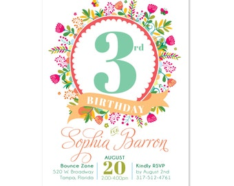 Bright Birthday Invitations, Birthday Invites, Floral, Colorful, Wreath, Printed or Printable, DIY