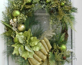 Christmas Wreath Long Narrow Oval Grapevine Front Door Decoration Lime Green Poinsettia Ornaments Large Spray Winter Floral Faux Pine Decor