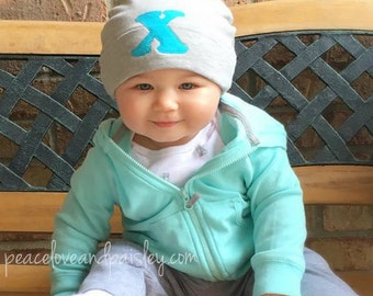 Baby Beanie Hat, Personalized Baby Hat, Newborn Hat, Grey Baby Hat, Jersey Baby Hat, Personalized Hat, Baby Shower Gift, Newborn Pictures