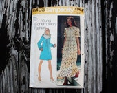 Simplicity 5403 1970s 70s Prairie Girl Maxi or Mini Dress Vintage Sewing Pattern Size 7 Junior Bust 31