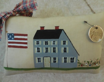 Primitive Patriotic Folk Art Country House & Flag Americana Red White Blue Home Decor