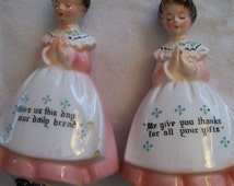 Vintage Prayer Lady Salt and Pepper Shakers in Pink by Enesco 1960s Kitchen