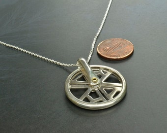 Fidget Spinner, Metal Fidget Spinner, Fidget Spinner Necklace, Kinetic Bicycle Wheel, Bicycle Pendant, RVA Jewelry, Kinetic Jewelry
