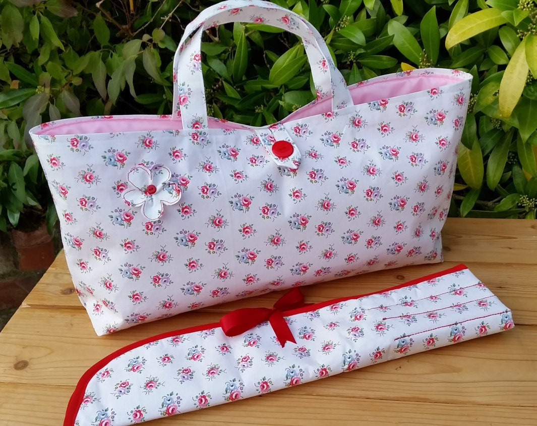 Knitting Bag and Pin Case in Cath Kidston Tea Rose by Krisscraft