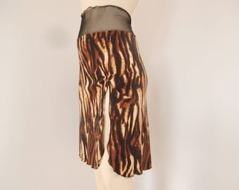 High Slit Tango Skirt  / Jupe Size fits US 4 and 6  Milonga Dance Wear Animal Print
