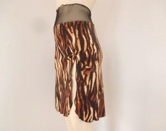 High Slit Tango Skirt  / Jupe Size fits US 4 and 6  Milonga Dance Wear Animal Print