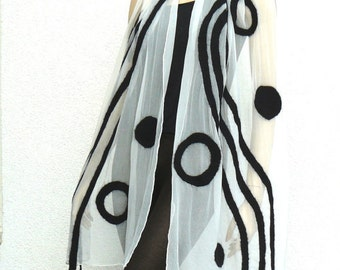 Silk Scarf, Nuno felted scarf, black and white long scarf