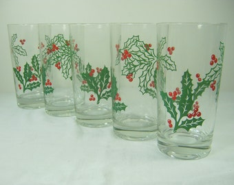 Vintage HOLIDAY TUMBLERS Set/5 Holly Glasses Christmas BARWARE Glassware Water