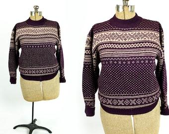 Vintage 1970s Maroon and Taupe Crewneck Pullover Wool Fair Isle Sweater Size M Medium L Large