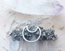 Giant Quartz Crystal Necklace with Pyrite, healing crystals and stones