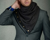 SALE Long scarf with snaps, unisex scarf made of soft blend suitable for wool allergies