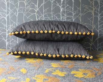 Grey pillow case with yellow pom pom fringe, lumbar pillow, minimalist home decor, rectangular pillow cover, 25x15 inch cover  (#4)