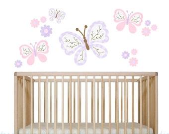 Butterfly Wall Decal - Girls Fabric Decal - Set of 4 Butterflys - Reusable Peel 'n Stick - Girls Flower Nursery Art - Gabrielle Butterfly