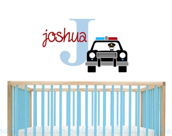 Police Car Wall Decal - Nursery Policeman Decals - Kids Name Sticker - Police Personalized - Boys Wall Decals - Custom Colors