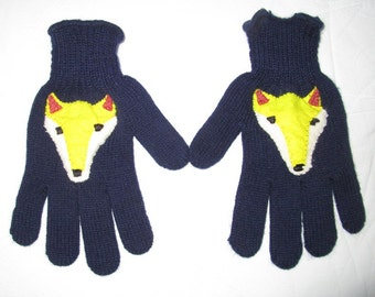 Fox Gloves,Navy Medium Full Finger Gloves,Full finger gloves, fox mittens,fox fingered gloves,Knit Grey Gloves animal gloves, Gift under 30