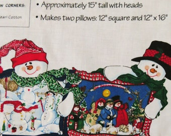 Daisy Kingdom, Christmas Fabric Panel, Snowman Pillow Pals, to Sew and Stuff 2 Pillows with Stuffed Snowmen Christmas Decor  Holiday Pillows