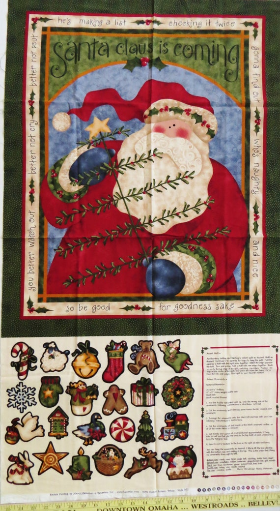 Christmas fabric panel santa s coming advent wall quilt