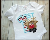 Rudolph the Reindeer Shirt - Christmas Shirt - Birthday Shirt, 1st Christmas Shirt, 1st Birthday Shirt