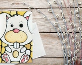 Bunny Birthday Card - White Rabbit on Yellow Background - Baby Shower Card, Kids Greeting Card, Easter/Holiday Card - by Artist Kathy Lycka