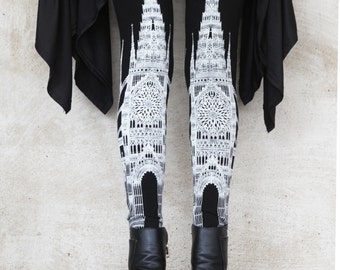Cathedral Leggings, printed cathedral legging, church tights, black leggings, bottoms, pants, yoga pants, carousel ink