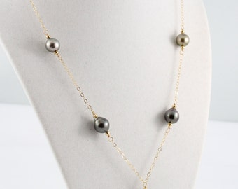 Tahitian pearl necklace, saltwater, large 16mm, black pearls, ombre, gold: Simply Adorned