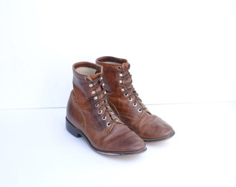 Vintage Justin Brown Leather Roper Boots Womens 5 1/2 - 6