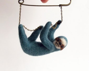 Hanging Sloth in dark turquoise, Hand Felted Animal Brooch,Animal Pin,Sloth Brooch,Cute Jewelry