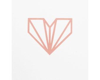 Diamond Heart Print - Blush Pink Screen Print On Archival Quality Watercolour Paper - Wall Art