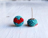 Handwoven Button Stud Earrings in turquoise-blue with glossy red heart pattern and sterling silver posts - Songbead UK