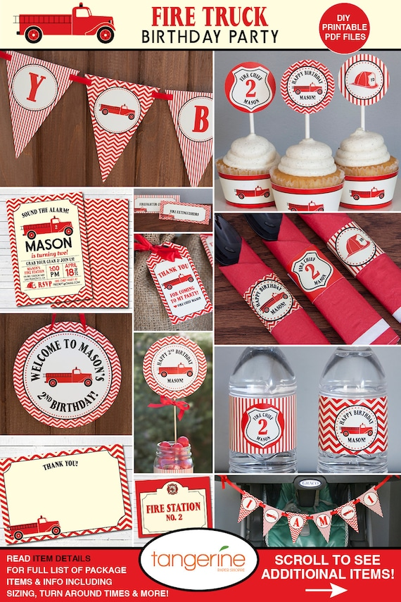 Firetruck birthday decorations firefighter party