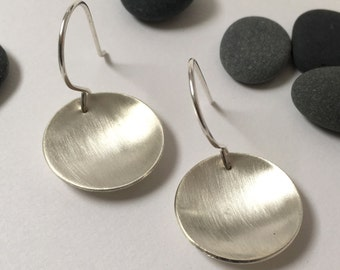Brushed silver disk earrings - large concave brushed silver disc earrings