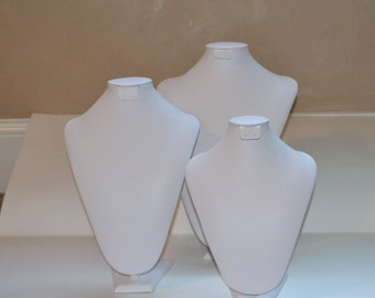 Set of THREE White Leatherette Jewelry Display Stands Discount Jewelry Displays Necklace Earring Display Jewelry Storage