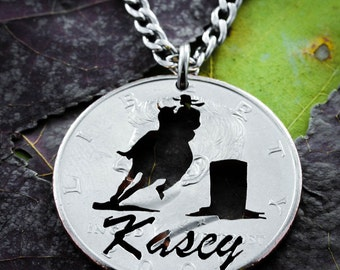 Barrel Racer Name Necklace, Country girl Jewelry, hand cut coin