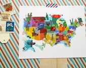 """USA illustrated 10""""x8"""" map"""