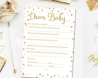 Dear Baby Advice Card, Baby Guessing Shower Game, Baby Shower Game Printable, Pink Gold Baby Shower Games, Instant Download BB1