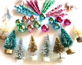White Mini Flocked Bottle Brush Christmas Trees-Lot of Ten 1.5 Inch-Holiday Sisal Pines-Putz Village-Retro Snowglobes-Terrarium-Winter Craft