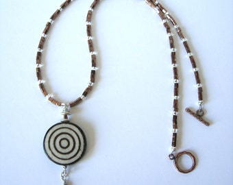 Handmade Hand-painted Wood Circle Pendant With Copper Hex & Silver-lined Beads