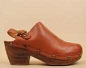 90s does 70s Vtg SBICCA Genuine Leather Studded CLOG Platforms / BOHO Hippie Mule Slingback Chunky Heel 10 Eu 42