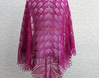 Knit shawl, bridal shawl, lace wrap in fuchsia color, hot pink color, gift for her, wedding shawl