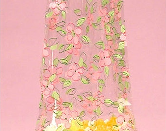 """Large Pink Green """"FLOWER PATCH"""" Print Cello Treat Snack Goodie Bags Cellophane Baggies (Free Shipping!)"""