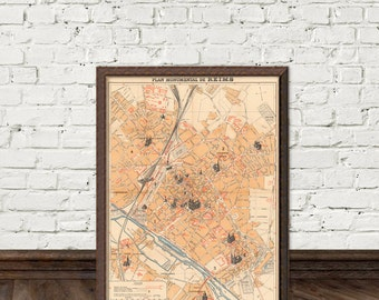 Reims map -  Monumental map of Reims - fine giclee print
