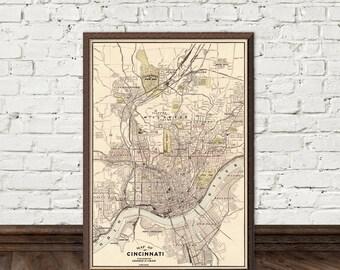 Cincinnati map - Old map of Cincinnati - fine reproduction - Old city map print
