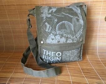 Vintage Green Canvas Cross Body Bag Messenger Satchel Shoulder Bag